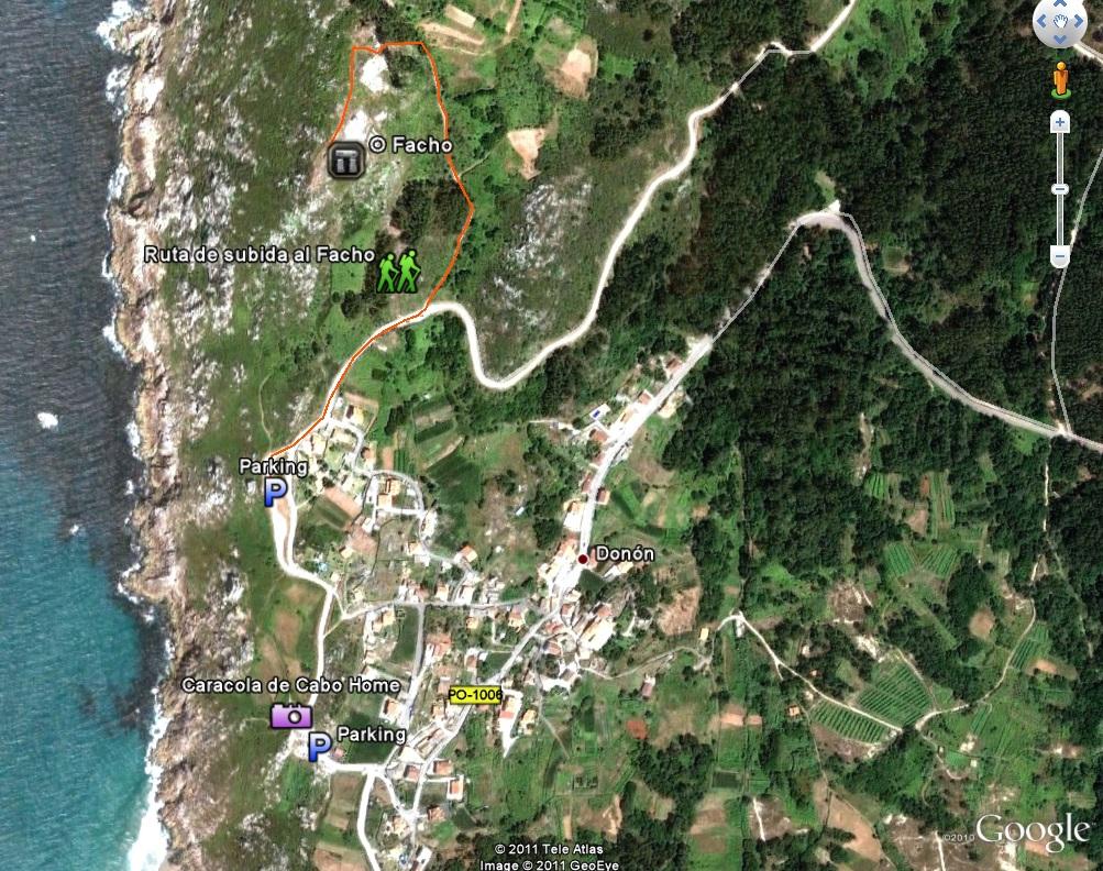 como subir al facho. foto de google maps