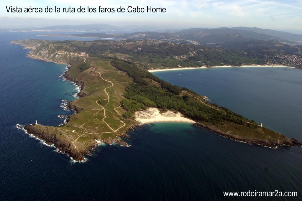 Vista aérea de Cabo Home, Playa de Melide y las ensenada de Barra, Viñó y Nerga