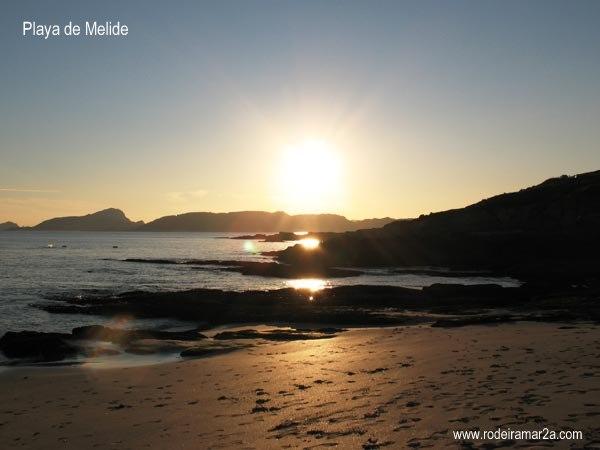 Playa de Melide, Cabo Home. Vistas de las Islas Cíes.