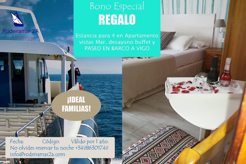 Bono Regalo Hotel Rodeiramar Cangas. 1 noche para 4 con desayuno y 4 billetes de barco de ida y vuelta Cangas Vigo.
